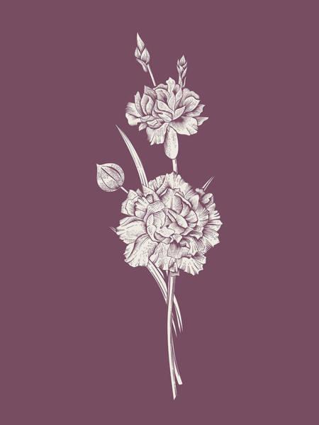 Love Mixed Media - Carnation Purple Flower by Naxart Studio