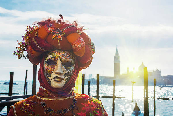 Headwear Photograph - Carnival Mask In Venice Posing In San by Buena Vista Images