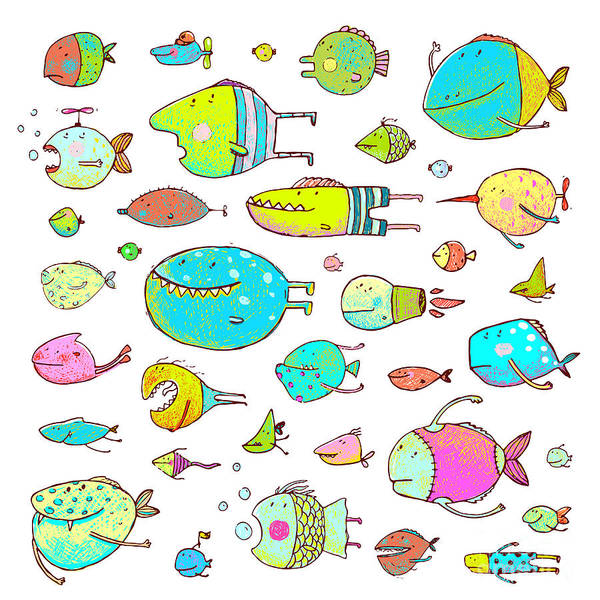 Objects Wall Art - Digital Art - Cartoon Bizarre Fish Collection For by Popmarleo