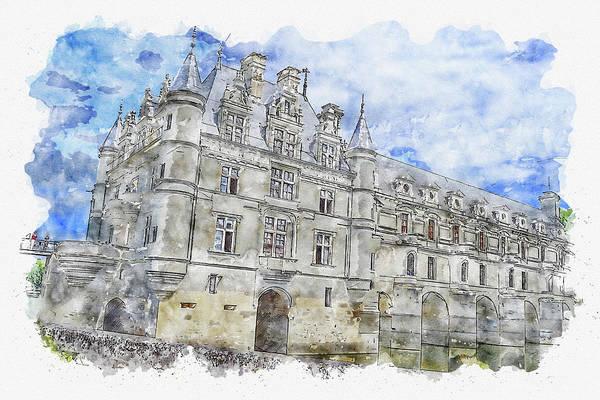 Chs Digital Art - Castle #watercolor #sketch #castle #france by TintoDesigns