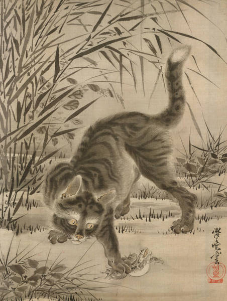 Wall Art - Painting - Cat Catching A Frog by Kawanabe Kyosai