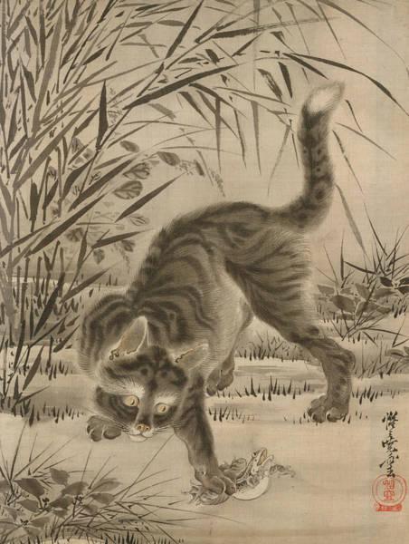 Wall Art - Painting - Cat Catching A Frog by Kawanabe Kyosai