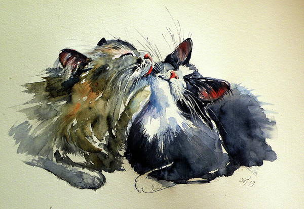Wall Art - Painting - Cats by Kovacs Anna Brigitta