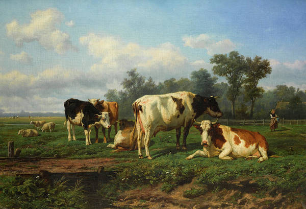 Wall Art - Painting - Cattle At Rest In A Meadow by Eugene Verboeckhoven