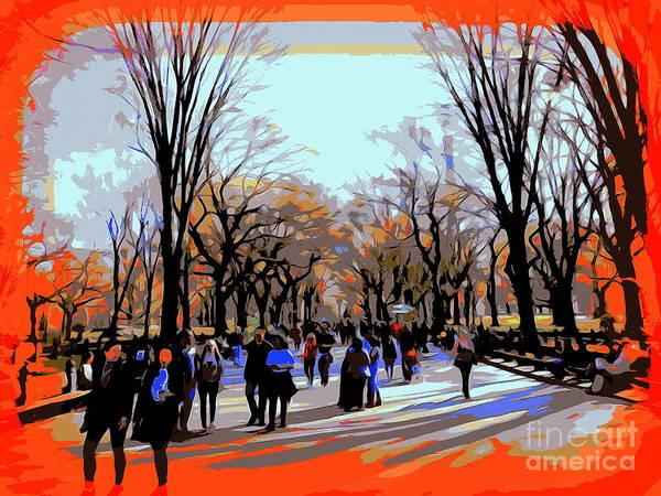 Park Bench Digital Art - Central Park Mall by Ed Weidman