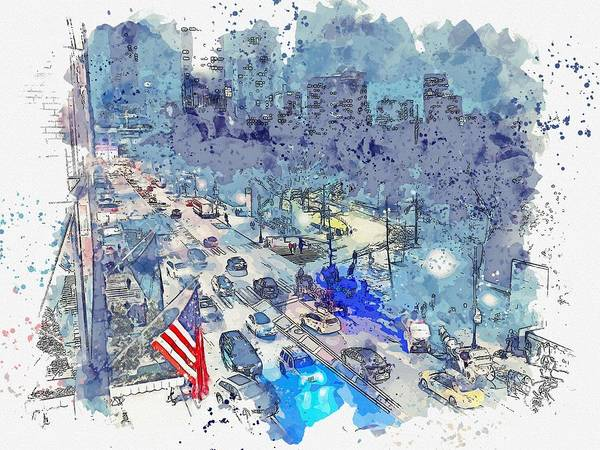 Wall Art - Painting - Central Park West, New York, United States -  Watercolor By Adam Asar by Adam Asar