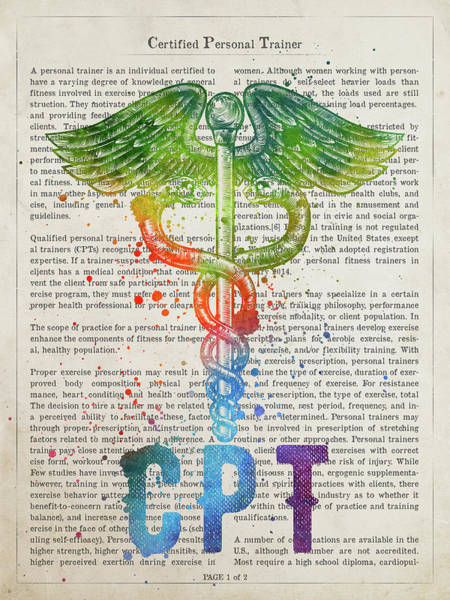 Wall Art - Digital Art - Certified Personal Trainer Gift Idea With Caduceus Illustration  by Aged Pixel