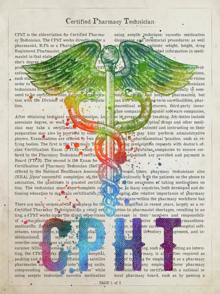 Wall Art - Digital Art - Certified Pharmacy Technician Gift Idea With Caduceus Illustrati by Aged Pixel