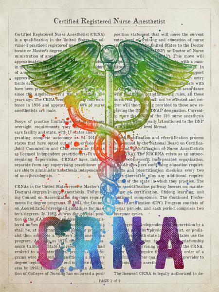 Wall Art - Digital Art - Certified Registered Nurse Anesthetist Gift Idea With Caduceus I by Aged Pixel