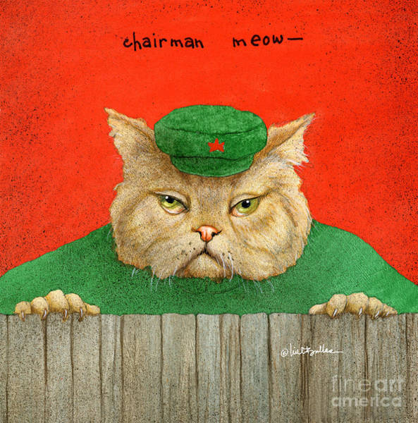 Wall Art - Painting - Chairman Meow... by Will Bullas