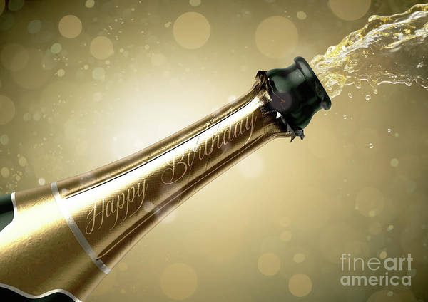 Wall Art - Digital Art - Champagne Bottle Birthday by Allan Swart