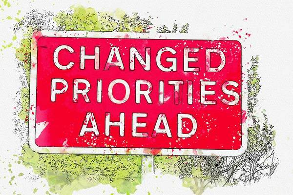 Wall Art - Painting - Changed Priorities Ahead Watercolor By Ahmet Asar by Ahmet Asar
