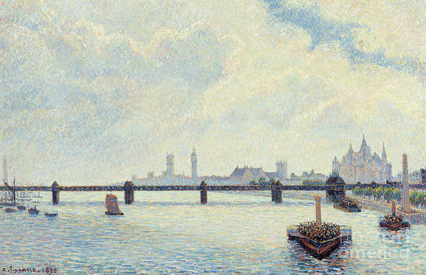 Wall Art - Painting - Charing Cross Bridge, London, 1890  by Camille Pissarro