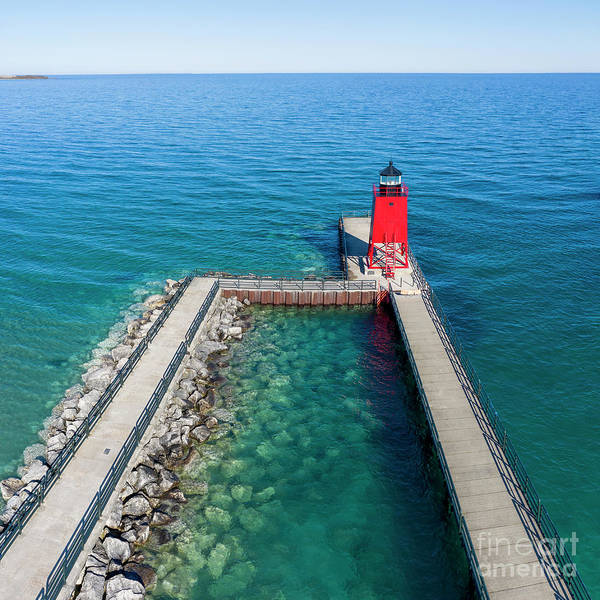 Charlevoix Photograph - Charlevoix Lighthouse Aerial by Twenty Two North Photography
