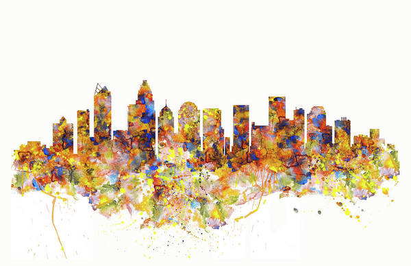 Wall Art - Painting - Charlotte Watercolor Skyline by Marian Voicu