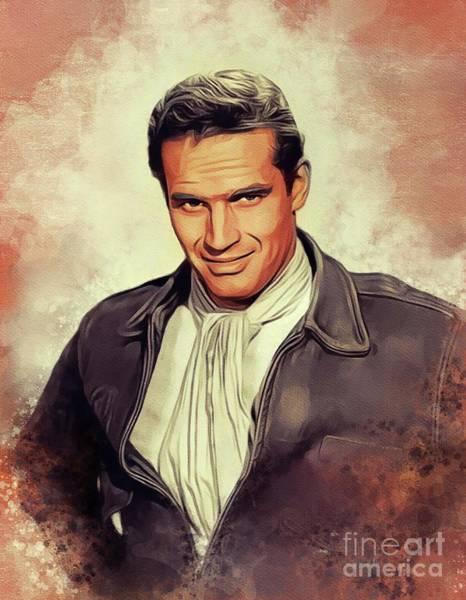 Wall Art - Painting - Charlton Heston, Hollywood Legend by John Springfield