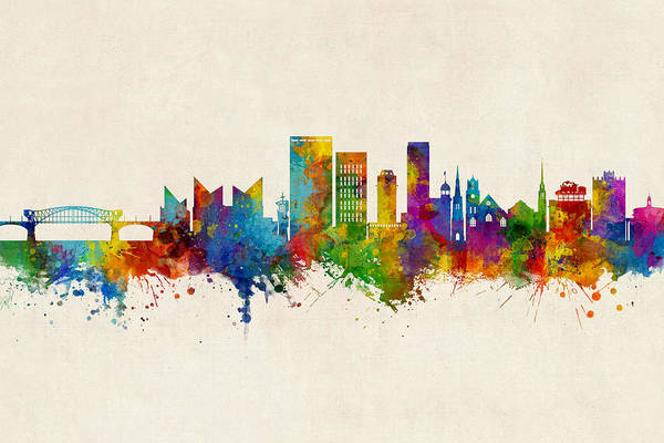 Wall Art - Digital Art - Chattanooga Tennessee Skyline by Michael Tompsett