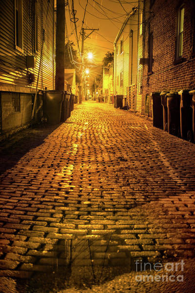 Brick Wall Art - Photograph - Chicago Alley At Night by Bruno Passigatti