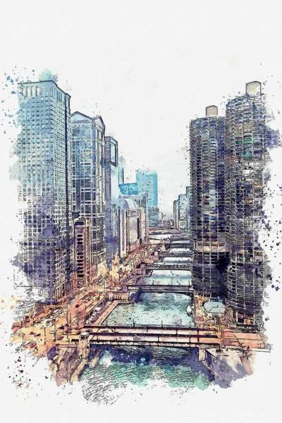 Lake District Painting - Chicago Downtown 99 Watercolor By Ahmet Asar by Ahmet Asar