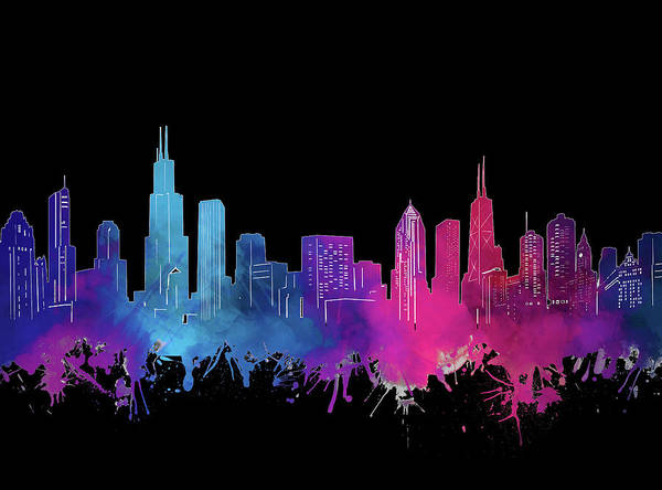 Chicago Skyline Watercolor 3 Art Print