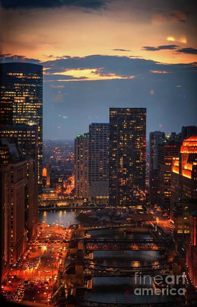 Wall Art - Photograph - Chicago Sunset by Bruno Passigatti