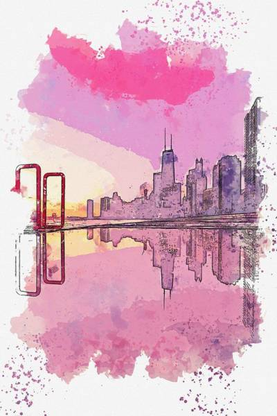 Lake District Painting - Chicago Sunset Watercolor By Ahmet Asar by Celestial Images