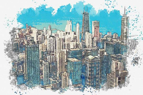 Lake District Painting - Chicago -  Watercolor By Adam Asar by Adam Asar