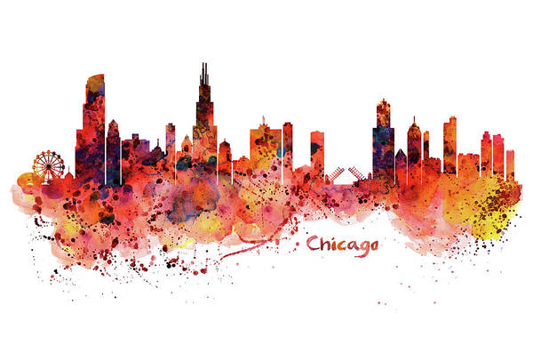 Wall Art - Painting - Chicago Watercolor Skyline by Marian Voicu