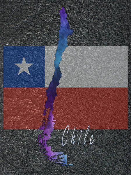 Flag Of Chile Wall Art - Painting - Chile Watercolor Map Style 6 by Greg Edwards