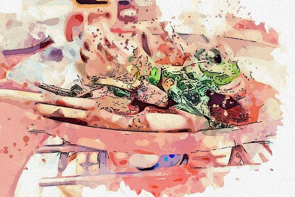 Protein Painting - Chop Steak -  Watercolor By Ahmet Asar by Celestial Images