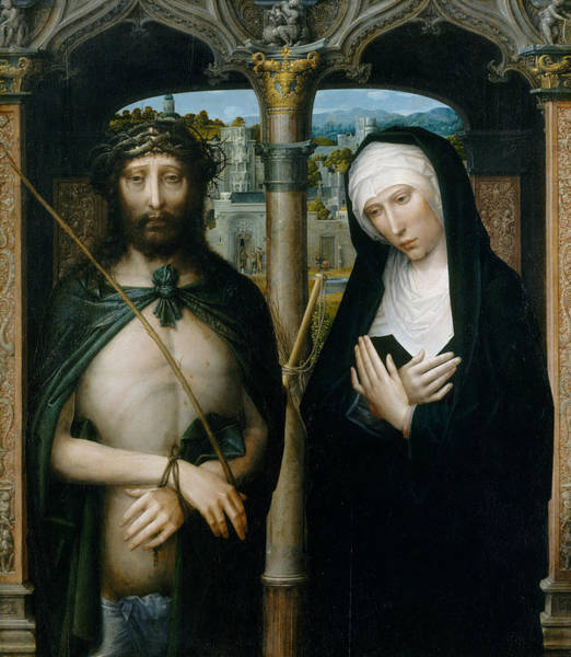 Wall Art - Painting - Christ Crowned With Thorns, And The Mourning Virgin by Adriaen Isenbrant