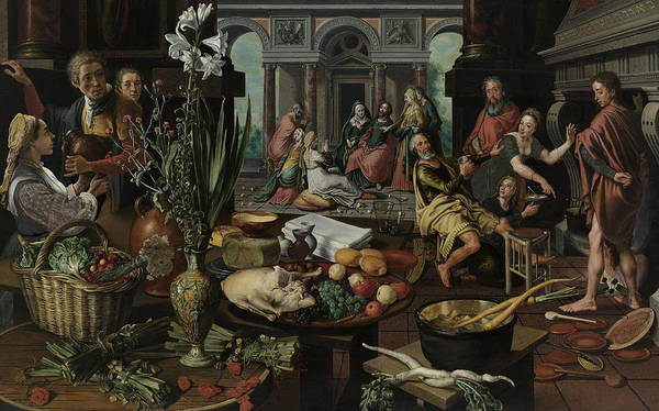 Wall Art - Painting - Christ In The House Of Martha And Mary by Pieter Aertsen