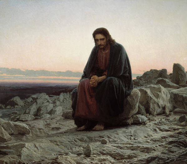 Redeemer Wall Art - Painting - Christ In The Wilderness by Ivan Kramskoi