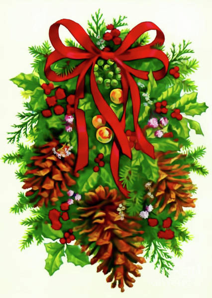 Digital Art - Christmas Wreath by D Hackett