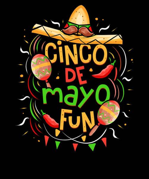 Mariachi Drawing - Cinco De Mayo Fun Sombrero And Maracas by Kanig Designs