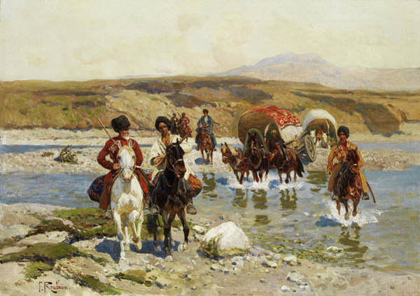 Wall Art - Painting - Circassian Horsemen by Franz Roubaud
