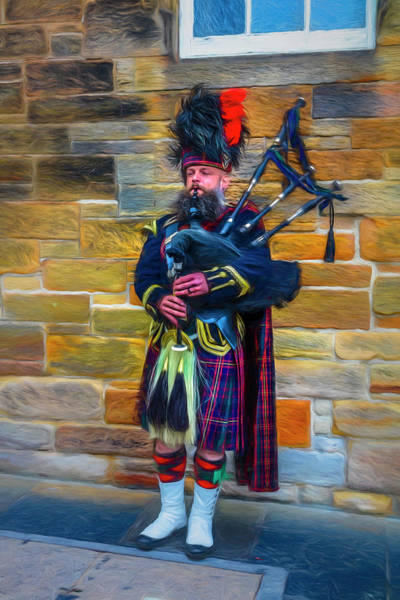 Holyrood Photograph - City Bagpiper In Full Dress Painting by Debra and Dave Vanderlaan