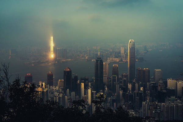 Kowloon Photograph - City Skyline Of Hong Kong by D3sign