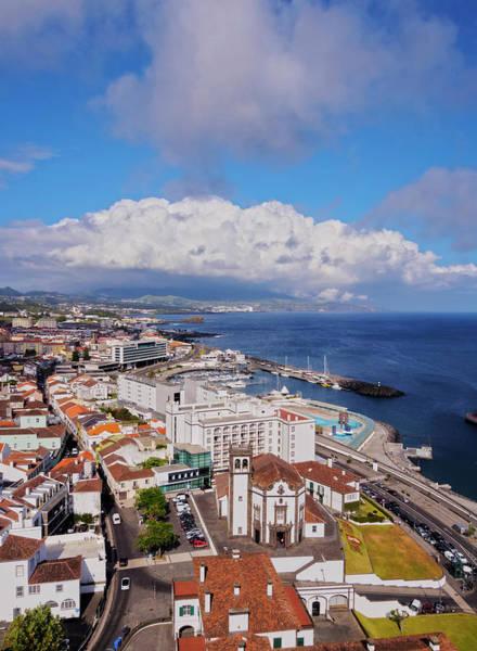 Wall Art - Photograph - City View Elevated View Ponta Delgada Sao Miguel Island Azores Portugal by imageBROKER - Karol Kozlowski