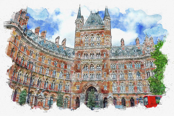 Wall Art - Digital Art - City #watercolor #sketch #city #europe by TintoDesigns