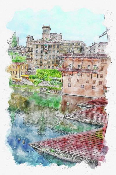 Wall Art - Digital Art - City #watercolor #sketch #city #water by TintoDesigns