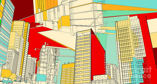 Funky Digital Art - Cityscape Collage by Maxim L.