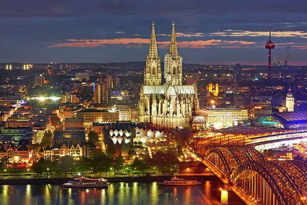 Rhine River Photograph - Cityscape Of Cologne At Night by Allan Baxter