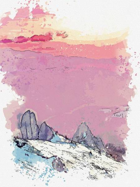 Painting - Ciucas Peak, Romania -  Watercolor By Ahmet Asar by Ahmet Asar