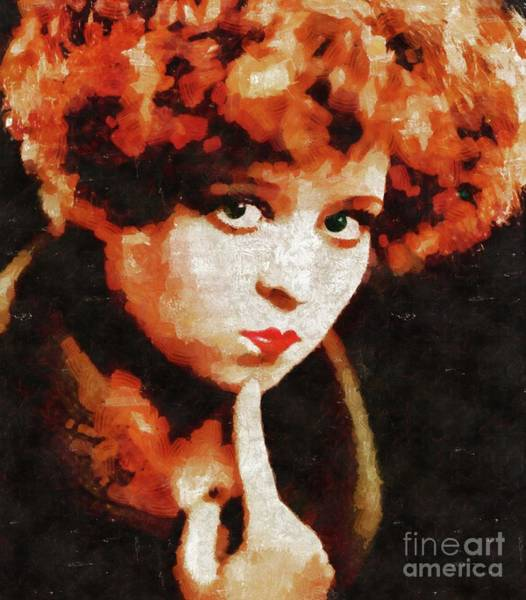 Wall Art - Painting - Clara Bow, Vintage Movie Star by Mary Bassett