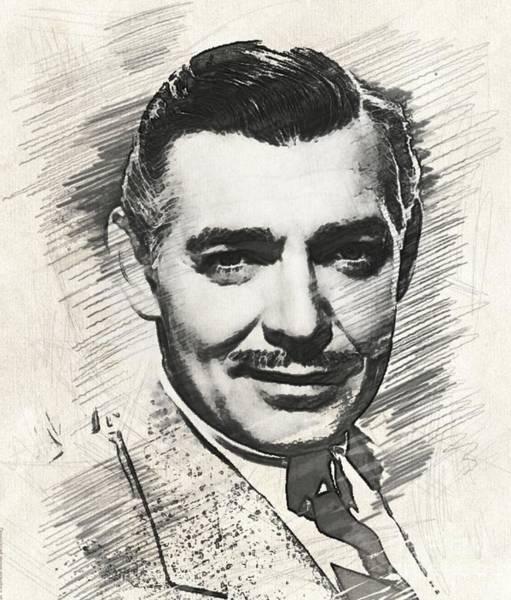 Wall Art - Digital Art - Clark Gable, Vintage Movie Star by Esoterica Art Agency