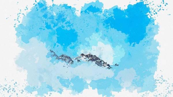 Painting - Clearing Skies San Pellegrino Pass, Italy Watercolor By Ahmet Asar by Ahmet Asar