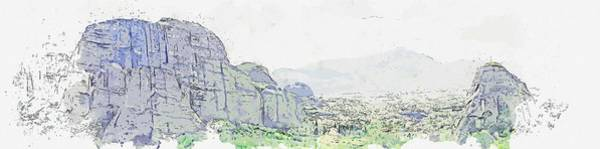 Painting - cliffs climbing clouds watercolor by Ahmet Asar by Ahmet Asar