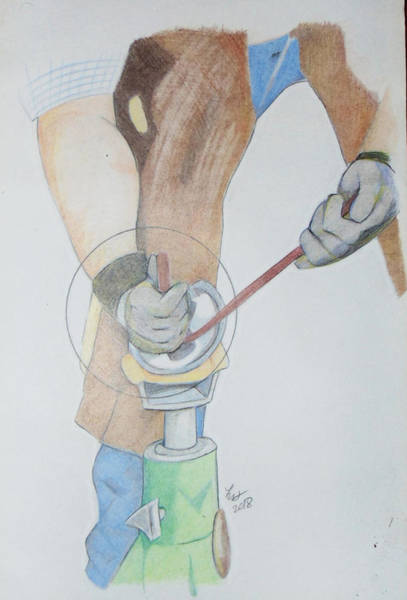 Drawing - Clipping Hooves by Loretta Nash