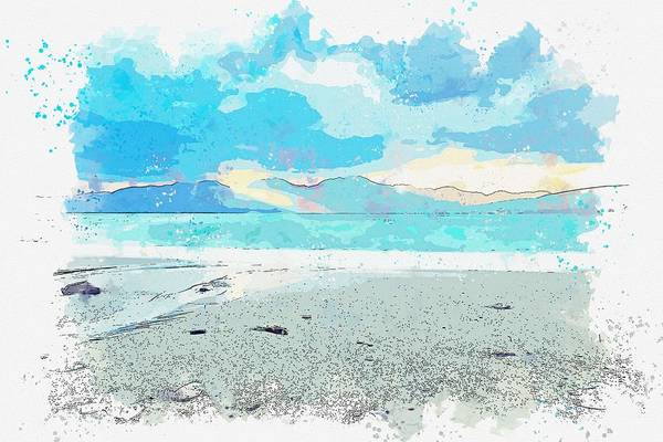 Painting - Coast After Storm -  Watercolor By Adam Asar by Adam Asar